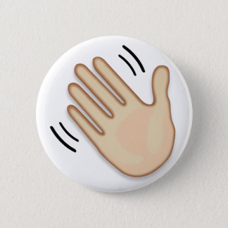 Waving Hand Sign Emoji Pinback Button