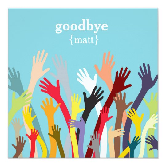 waving hands farewell party invitation - Goodbye Party Invitation
