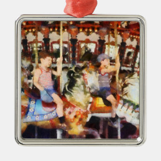 Waving Hi From the Merry-Go-Round Christmas Ornaments