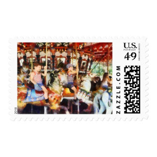 Waving Hi From the Merry-Go-Round Postage