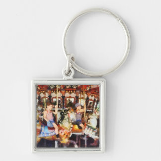 Waving Hi From the Merry-Go-Round Silver-Colored Square Keychain
