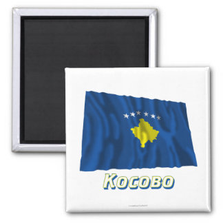 Waving Kosovo Flag with name in Russian Magnet