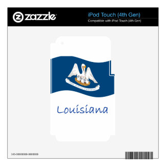 Waving Louisiana Flag And Name iPod Touch 4G Decals