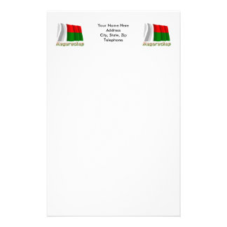 Waving Madagascar Flag with name in Russian Stationery