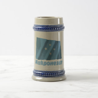 Waving Micronesia Flag with name in Russian 18 Oz Beer Stein