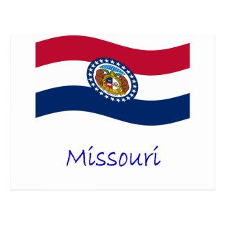 Waving Missouri Flag And Name Postcard
