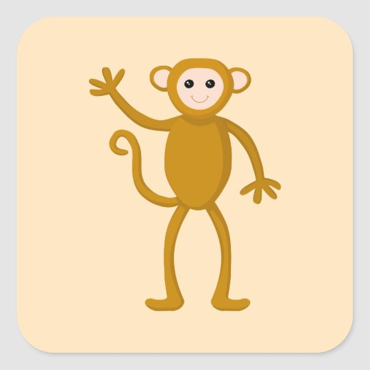 Waving Monkey. Square Sticker