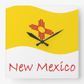 Waving New Mexico Flag An d Name Square Wall Clock