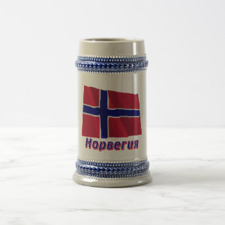 Waving Norway Flag with name in Russian 18 Oz Beer Stein