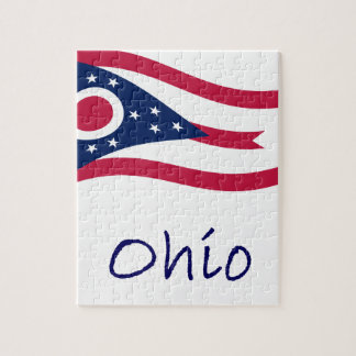 Waving Ohio Flag And Name Puzzles
