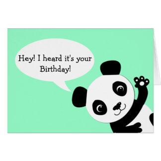 Waving Panda Birthday card