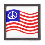 Waving Peace USA Flag Premium Keepsake Box