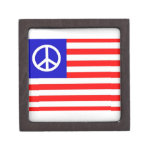 Waving Peace USA Flag Premium Trinket Boxes