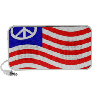 Waving Peace USA Flag Laptop Speaker