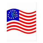 Waving Pentagram Colonies Flag Post Cards