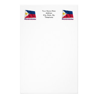 Waving Philippines Flag with name in Russian Stationery