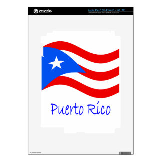 Waving Puerto Rico Flag And Name Decal For iPad 3