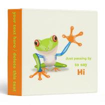 Waving red eyed tree frog illustration binder