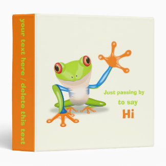 Waving red eyed tree frog illustration binder