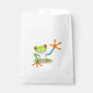 Waving red eyed tree frog illustration favor bag