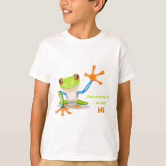 Waving red eyed tree frog illustration funny kids T-Shirt