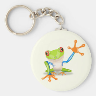 Waving red eyed tree frog illustration keychain