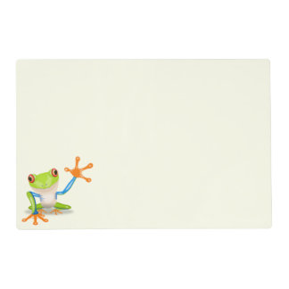 Waving red eyed tree frog illustration placemat