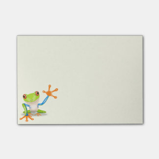 Waving red eyed tree frog illustration post-it notes