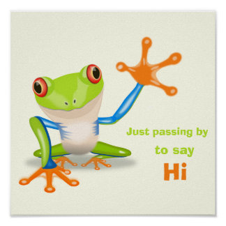 Waving red eyed tree frog illustration poster