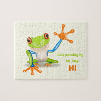 Waving red eyed tree frog illustration puzzle