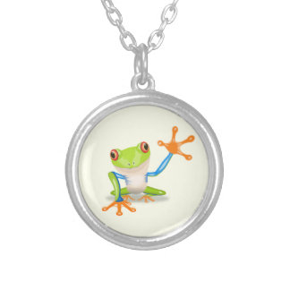 Waving red eyed tree frog illustration silver plated necklace