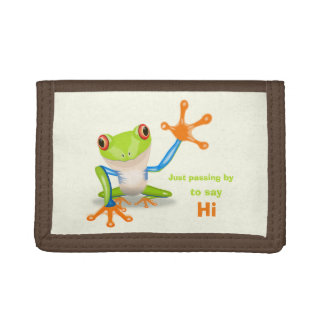 Waving red eyed tree frog illustration trifold wallets