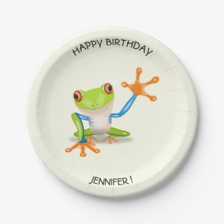 Waving red eyed tree frog kids birthday paper plate