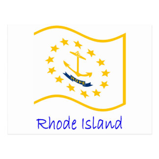 Waving Rhode Island Flag And Name Postcard