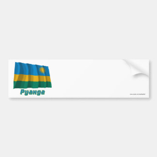 Waving Rwanda Flag with name in Russian Car Bumper Sticker