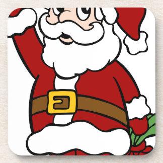 Waving Santa Claus Cartoon Character Coaster