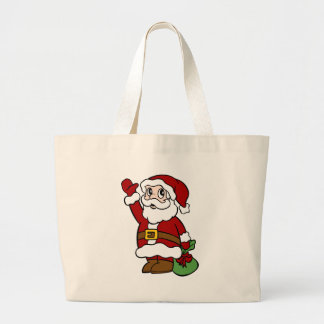 Waving Santa Claus Cartoon Character Large Tote Bag