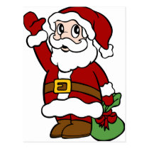 Waving Santa Claus Cartoon Character Postcard