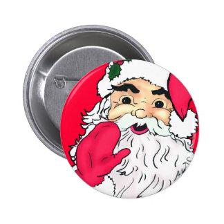 Waving Santa Claus Pinback Button