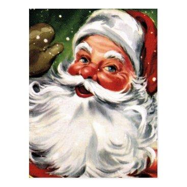 Christmas Themed Waving Santa Claus Postcard
