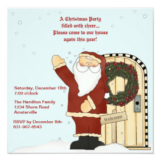 Waving Santa - Holiday Invitation