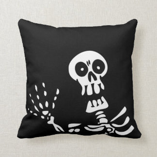 Waving Skeleton Halloween Throw Pillow