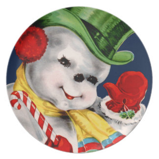 Waving Snowman Plate