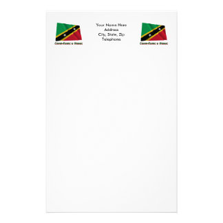 Waving St. Kitts & Nevis Flag with name in Russian Stationery