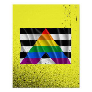 Waving straight ally flag posters