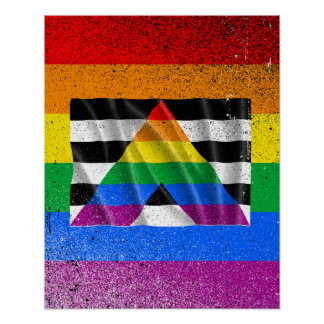 Waving straight ally flag poster