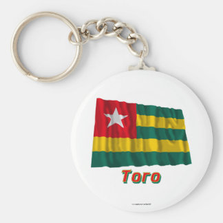 Waving Togo Flag with name in Russian Keychain