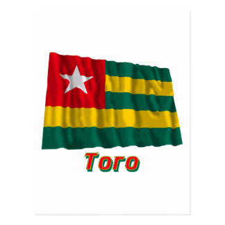 Waving Togo Flag with name in Russian Post Card