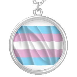 Waving transexual pride flag necklaces