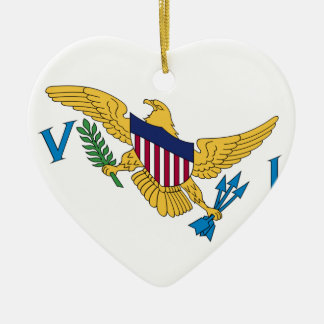 Waving United States Virgin Islands Flag Double-Sided Heart Ceramic Christmas Ornament